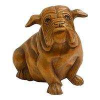 Vintage Folk Art Solid Wood Bulldog