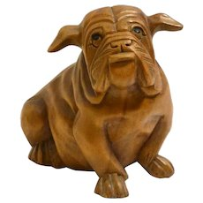 Vintage Folk Art Solid Wood Bulldog