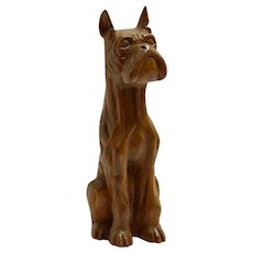 Folk Art Carved Wood Boxer Dog Figurine