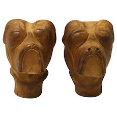 Hand Carved Folk Art Boxer Dog Head Korbels