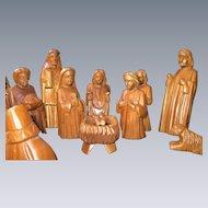 Hand-Carved WOODEN Nativity Set, 16 pieces, Folk Art