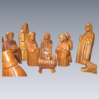 Hand-Carved WOODEN Nativity Set, 16 pieces, Folk Art