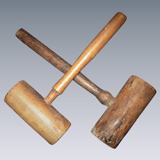 Pair of Hand-Made Wooden Mallets, Folk Art