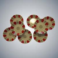 ICE CREAM Bowls!  Vintage Set of 8 Porcelain Bowls/Dishes, circa 1920-1930, Hand-Painted Red, Gold
