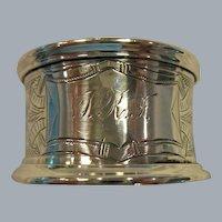 Ornate, Greek Key, Engraved Sterling Silver Napkin Ring