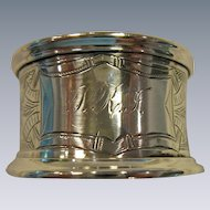 Ornate, Greek Key, Engraved Sterling Silver Napkin Ring