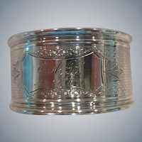 INCREDIBLE Sterling Silver Basket Weave pattern Napkin Ring,1867