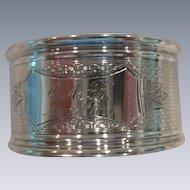 INCREDIBLE Sterling Silver Basket Weave pattern Napkin Ring,1867