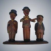 FOLK ART BAR SET!  Trio of funny Old Men Bar Tools.  Italian, Hand-Carved & Hand-Painted.  Ari Hand.