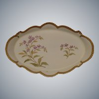 Bisque Porcelain Hand-Painted Dresser Tray.  Ornate!  Lavender Lilac sprays with Beaded Edge and Gold Trim