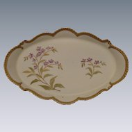 Ornate Bisque Porcelain Hand-Painted Dresser Tray, Floral with Beaded Edge and Gold Trim