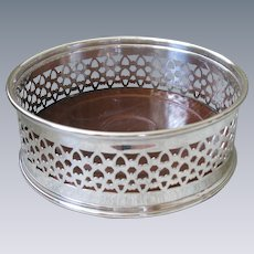 Vintage Silverplate Wine Coaster or Caddy, with mahogany insert/liner.  LARGE, likely English