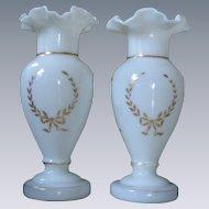 LARGE, Pair of Hand Painted Bristol Glass Mantel Vases, Opaline/Milk Glass, Gold Stars & Wreath