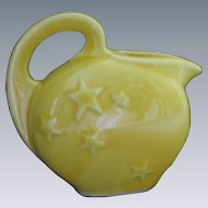 Vintage USA Pottery yellow CREAMER, stars