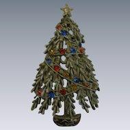 Vintage Signed ART Enamel and Rhinestone Brooch, Christmas Tree