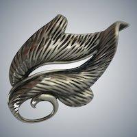 Vintage, signed NAPIER, Sterling Silver Brooch, Leaf