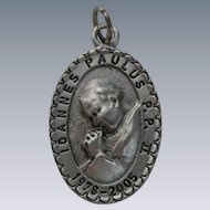Silver Pope John Paul II Charm Token Pendant, Canonization ceremony in Rome.