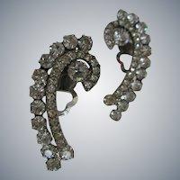 LARGE Vintage, Rhinestone Earrings, Swirl