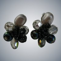 Vintage Pair of Earrings, Iridescent Black, Silver, and Clear Glass Beads
