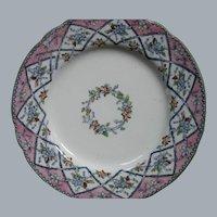 Antique English Ironstone Transferware Plate by P.B.& H..  Ornate TRELLIS pattern, 1851-1862