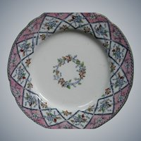 Antique English Ironstone Transferware Plate by P.B.& H..  Ornate TRELLIS pattern, 1851-1862