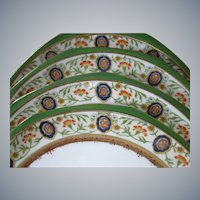 SET of 4, Hutschenreuther, Austria, Ornate, Hand Painted Porcelain Plates, circa 1884-1909