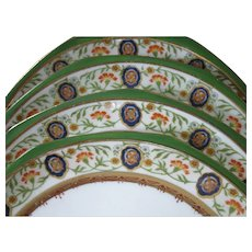 SET of 4, Hutschenreuther, Austria, Ornate, Hand Painted Porcelain Plates, circa 1884-1909