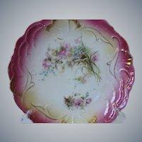 Very Rare, Antique Hand-Painted Porcelain  Bavarian Cake Plate, Circa 1886
