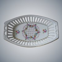 Dresden, Lattice Ware, Reticulated Porcelain Oval Dish, floral, star