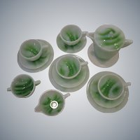 16-Piece Set, Akro Agate GREEN SLAG Glass Art Deco Child's Tea Set, circa 1930's