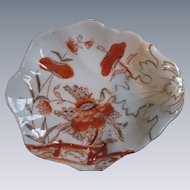 Beautiful, Orange and Gold Hand-Painted Porcelain Leaf-Shaped Bowl, Germany, 1928