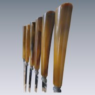 6 Piece SET of Vintage Butterscotch, Caramel Bakelite Knives, 1950's