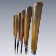 Butterscotch, Caramel Bakelite Knives, 6-Piece Set.  Vintage 1950's
