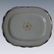 "Copeland Spode, circa 1920-1930, ""Sutherland,"" LARGE Tray Platter, Cobalt Blue & Gold, Bone China"