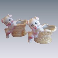 Pork Bar-B-Que!   Pair of Vintage Tooth Pick Holders, Pigs with Baskets