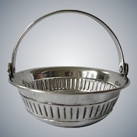 Elegant Silverplate Wine Tasting Cup Basket.  Likely English