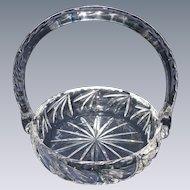 Early, Cut Crystal Glass Basket with Handle, Vintage Bride's Basket