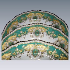 Antique Set of 3 Ornate Copeland China Plates, Green with Jeweled, Raised Gold Paste Accents, Davis Collamore & Co., New York, 1899-1909