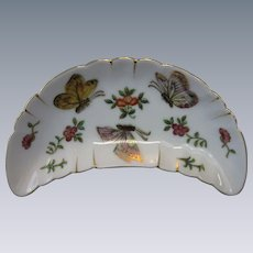 Vintage, Butterfly Bone Dish, Hand-Painted, Kutani-Style Porcelain, Japan, 22K Gold Accents