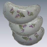 Set of 3 Early, Hand-Painted Porcelain, Crescent Bone Plates Dishes, Purple Iris and Lily of the Valley Flowers