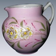 Early, Hand-Painted Porcelain, Pink Dogwood Floral Pitcher