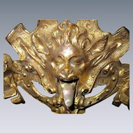 RARE!   Gothic, Bronze Gargoyle, Celtic Green Man, Griffin, Wall Hook, with 22K Gold Wash