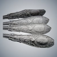 "RARE, Set of 4 Whiting ""Arabesque"" Sterling Silver Tea Spoons, circa 1875"