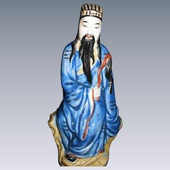 "Large, Vintage, Chinese Figurine, ""Iron Crutch Li"" of the Immortal 8, Chinese Mythology,  Mud Man, circa 1940's-1950's"