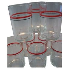 Circa 1933, Original Set of 8 Swanky Swig Cocktail Glasses, Hand Painted, Red & Black Band