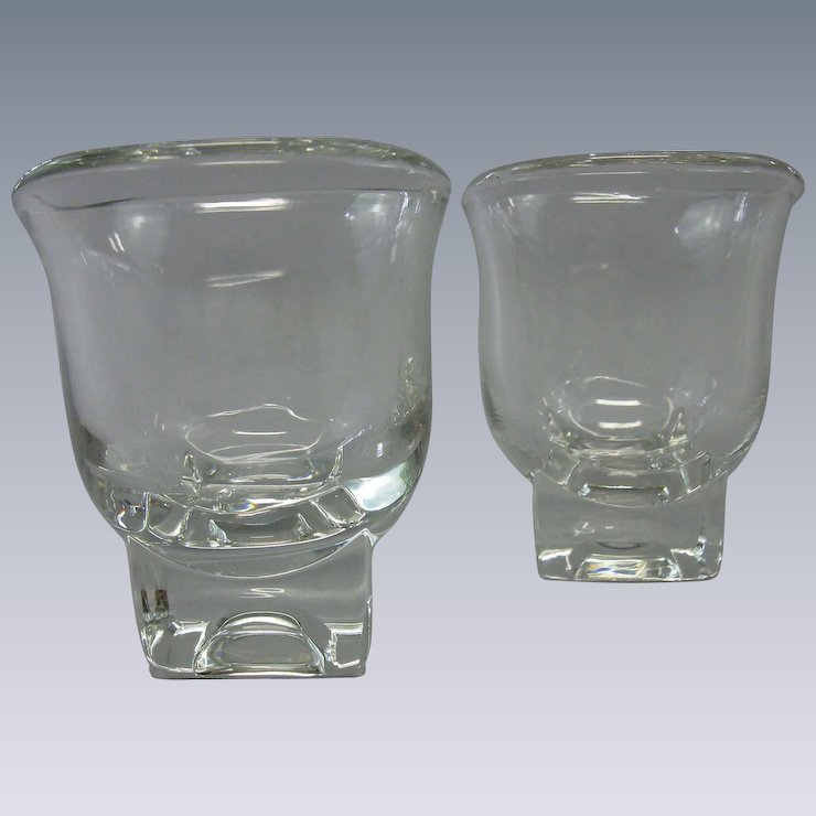 vintage 1950s cambridge glass company cream sugar set glasses square bases - Cambridge Glass