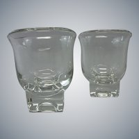 Vintage Mid-Century Modern Cream & Sugar Set.  Square Bases.  Cambridge Glass Company, American