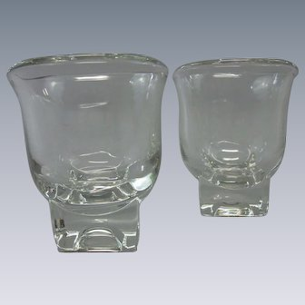 Vintage Mid-Century Modern Cream & Sugar Set.  Square Bases.  Cambridge Glass Company, American