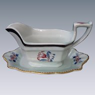 "Adams, Calyx Ware Gravy Boat with Attached Base, ""Georgian Tulip"" Pattern, English, circa 1900-1920"