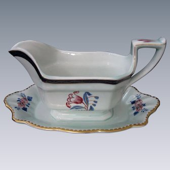 "Vintage, Adams, Calyx Ware Gravy Boat with Attached Base, ""Georgian Tulip"" Pattern, circa 1900-1920"